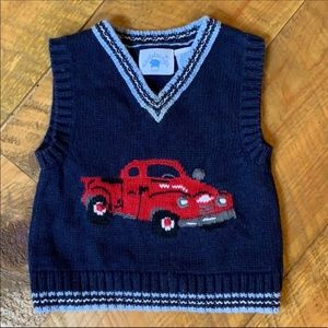 Hartstrings sweater vest with red trucks 12 Months